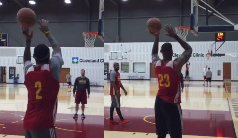 Kyrie Irving & LeBron Attempting Left-Handed Shots in Practice