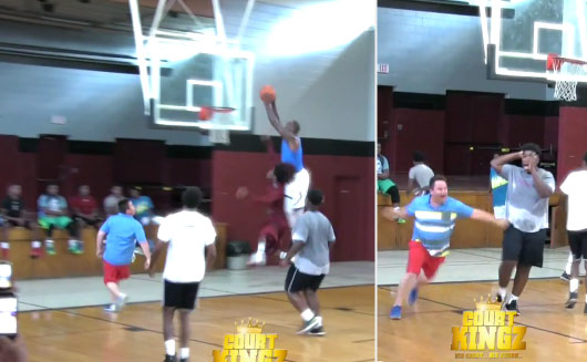 "Baby LeBron Dunks On A Defender off a Lob From ""Spanish Guy In a Polo"""