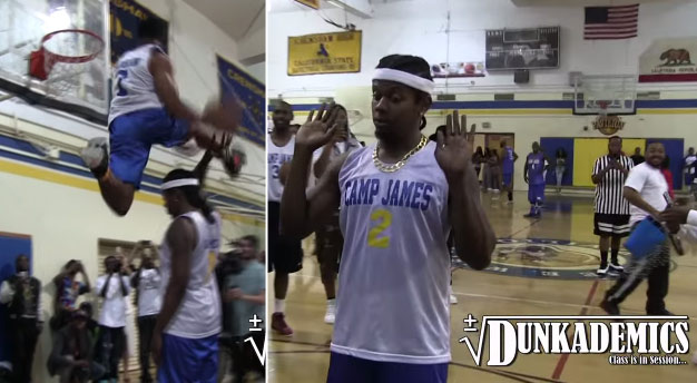 5'10 Young Hollywood Between the Legs Dunk Over Trinidad James at Celeb Game