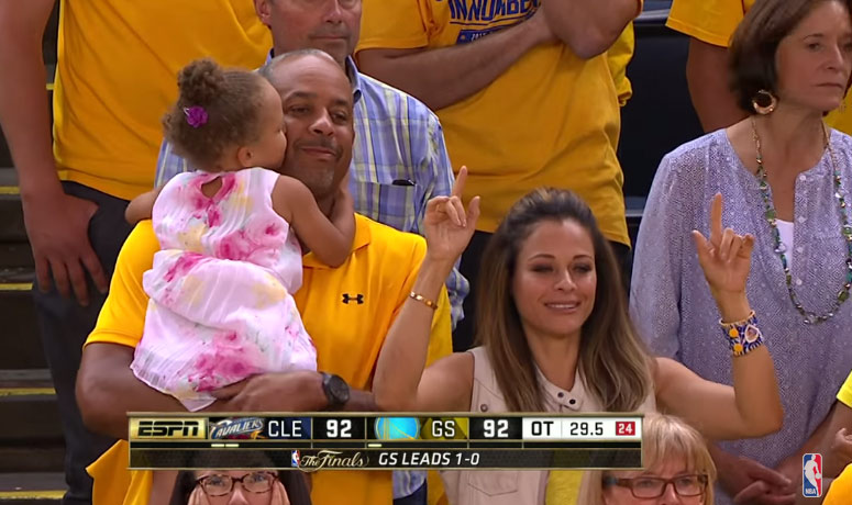 Good Timing: Riley Curry Kisses Dell Curry After Steph Curry Hits a Clutch Shot in OT