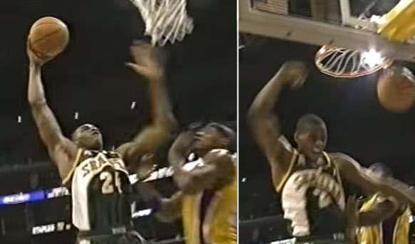 (2002) 2 Big Dunks By Desmond Mason vs the Lakers