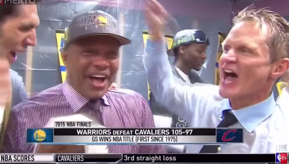 "Future Pelicans Coach Alvin Gentry Tells Anthony Davis ""We're coming right back here"" during Warriors celebration"
