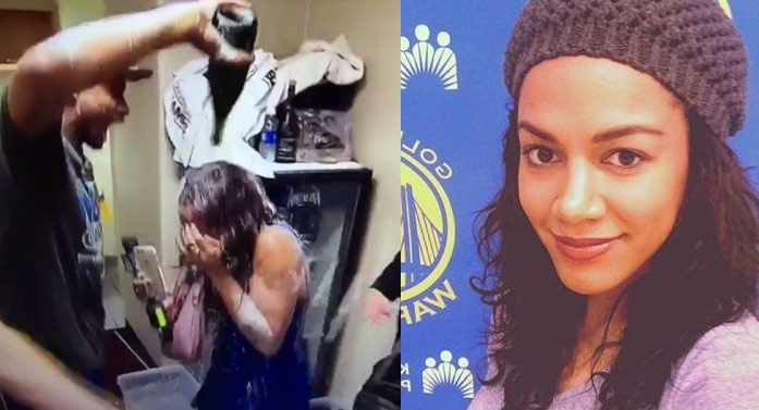The Lovely Warriors Sideline Reporter Gets A Champagne Shower