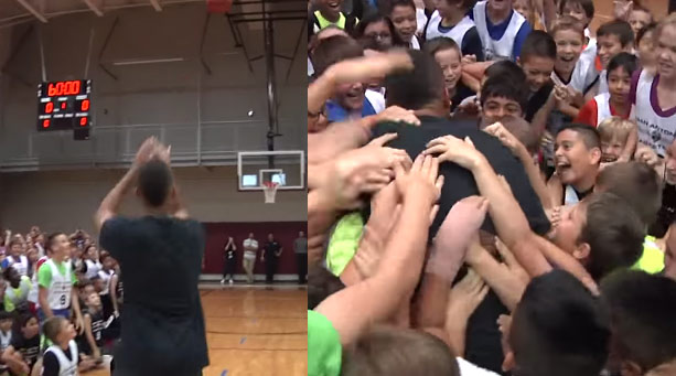 Kids Mob Tony Parker After He Hits a Half-Court Shot at Spurs Camp