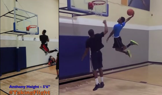 5'6″ 16 year old Anthony Height will dunk on you! Unreal hops