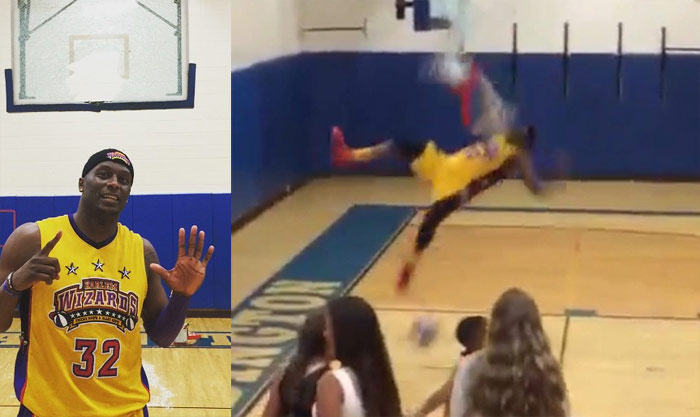 Harlem Wizards' Leon Sewell Breaks His 6th Backboard