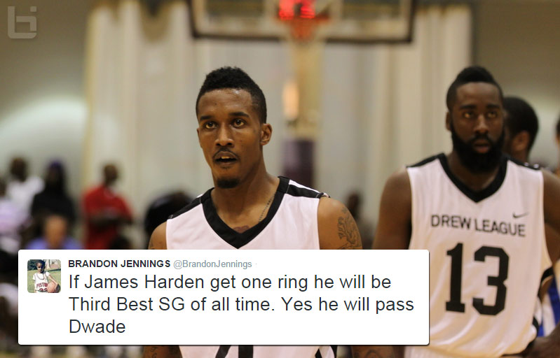 Brandon Jennings says Harden will be the 3rd best SG of all-time if he gets a ring