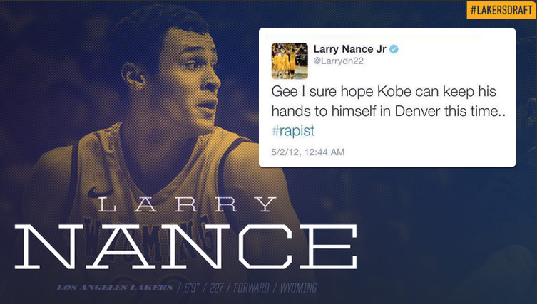 "Lakers Draft Pick Larry Nance Jr Deletes 3 Year Old Tweet Calling Kobe a ""Rapist"""