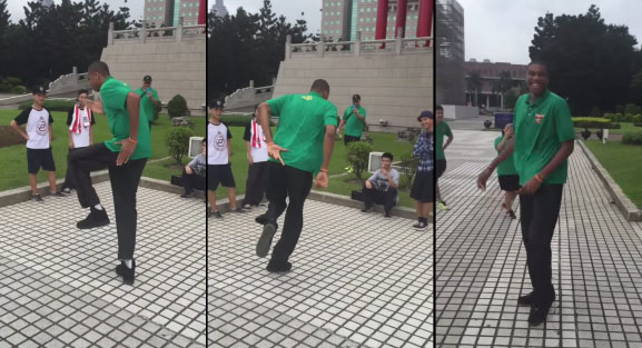 Giannis Antetokounmpo Challenges Dancers to a Dance Battle In Taiwan
