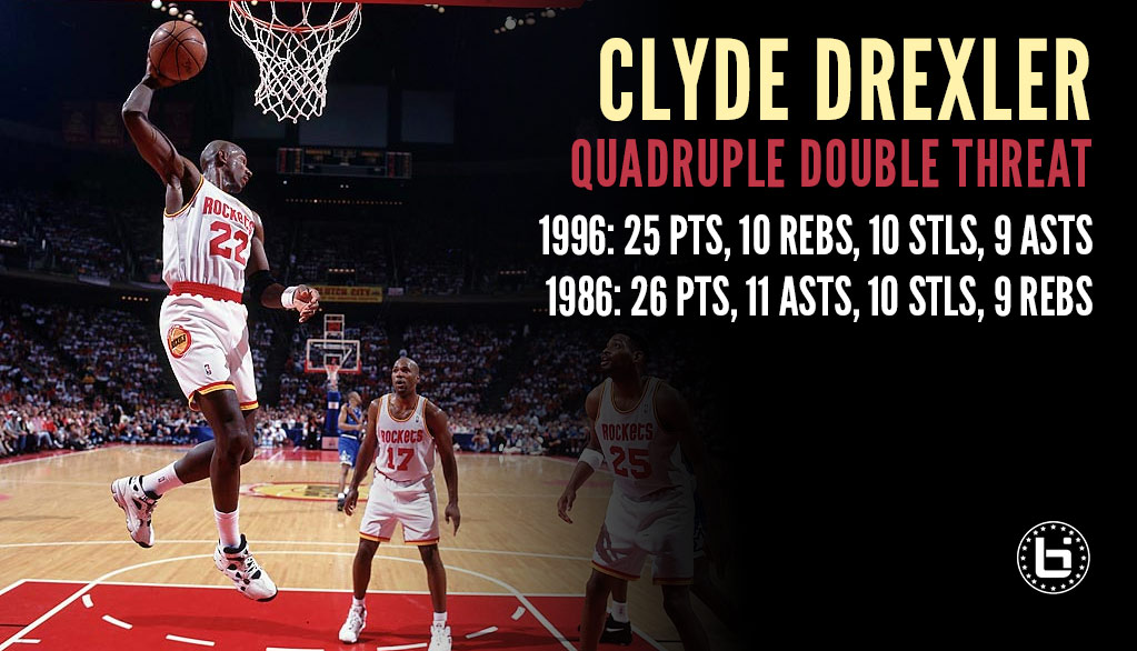 "Clyde Drexler ""Robbed"" Of A Quadruple-Double In 1996"