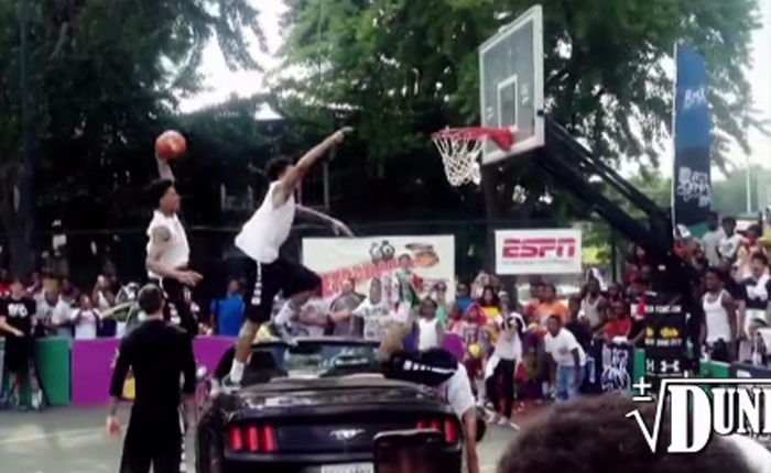 Scary Jumping Over a Car Dunk FAIL at City Slam Dunk Contest