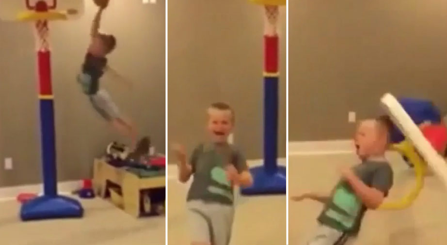 Little Kid Does His Best Shaq Tearing Down the Rim Impersonation…Gets Knocked Out By The Backboard