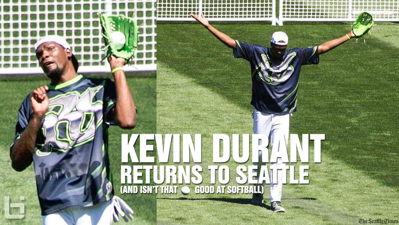 Kevin Durant Returns to Seattle, Plays Softball With Nick Young, LaVine, Barnes, Crawford at Richard Sherman Celeb Game