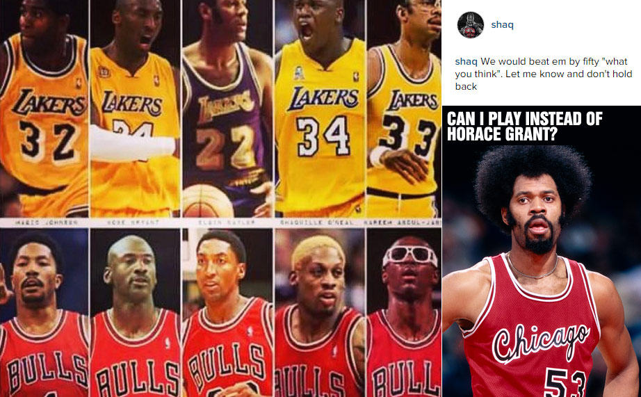Shaq says Lakers All-Time Starting 5 would beat the Bulls Starting 5 (No Artis Gilmore?!) by 50 Points