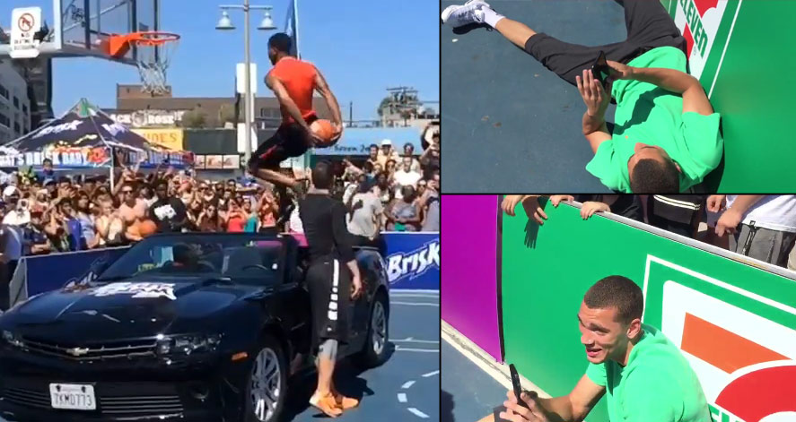 Zach LaVine & Julius Randle's OMG Reaction To Guy Dupuy's Amazing Behind the Back Over A Car Dunk at City Slam
