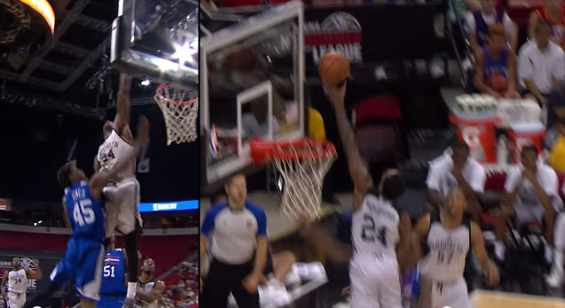 Rondae Hollis-Jefferson Gets Way Up For the Block on Jamal Jones