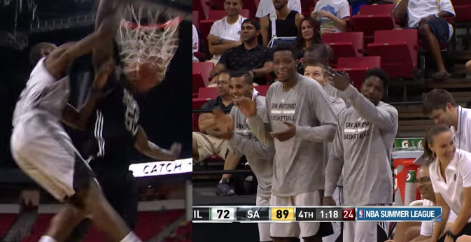 Jonathan Simmons Posterizes Defender Then Trolls Teammates With a Wide-Open Layup