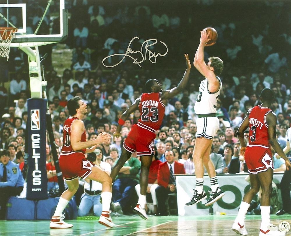 main_1-Larry-Bird-Signed-Celtics-16x20-Photo-VS-Michael-Jordan-Schwartz-COA-PristineAuction.com