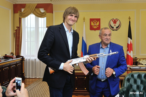 Andrei Kirilenko aka Ak-47 receives an AK-47 as a welcome home gift!