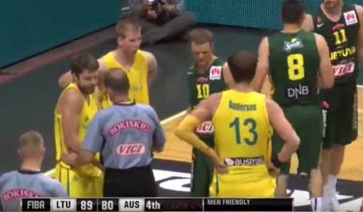"Matthew Dellavedova Gets Into a scuffle during a ""friendly"" exhibition game vs Lithuania"