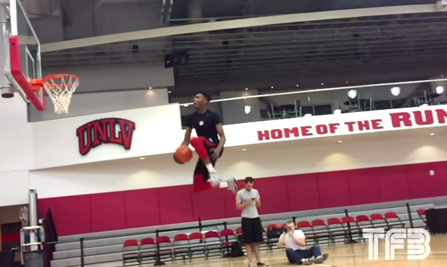 UNLV's Derrick Jones Windmills & Goes Between The Legs Almost From the Free Throw Line Off Two Feet!