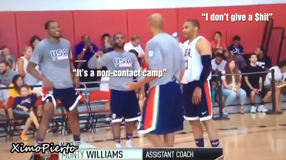 Russell Westbrook Has No Chill at USA Camp, Causes Teammates to Crack Up For Being So Aggressive