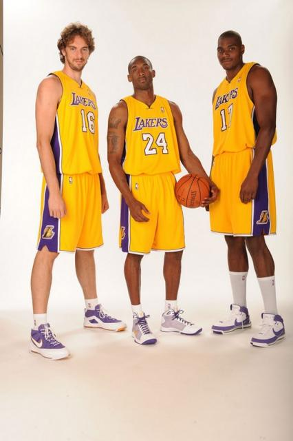 Pau Gasol with Kobe Bryant and Andrew Bynum during Media Day 2008