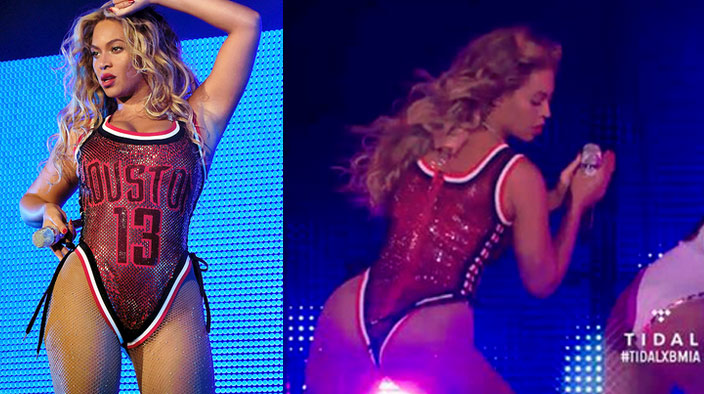 Beyonce Wears One Sexy James Harden Jersey During Concert, Harden Approves!