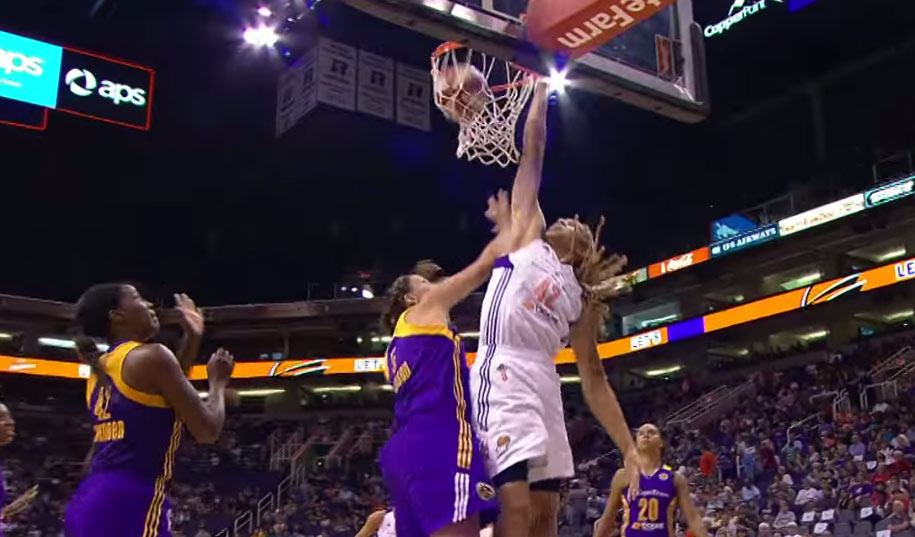 Britney Griner with the spin move & poster dunk vs the Sparks