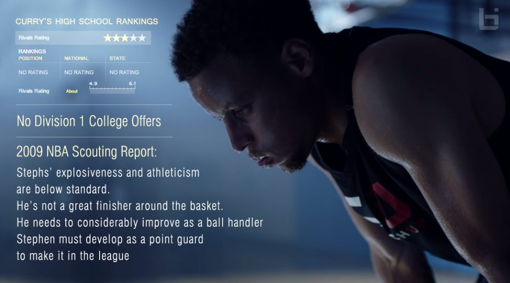 steph curry reads an old negative scouting report in