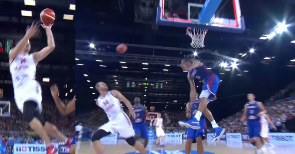 Rudy Gobert Gets Dunked On, Then Destroy's Russian Player's Weak Shot