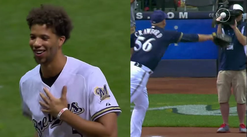 Michael Carter-Williams Throws A First Pitch & Hits A Cameraman