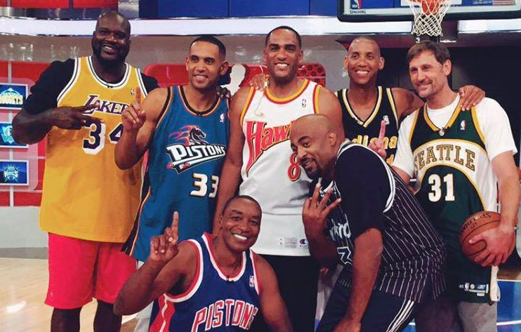 Shaq, Hill, Barry & the NBATV Crew Wearing Retro Jerseys For ThrowbackThursday