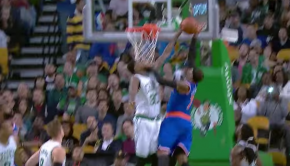 Amir Johnson Rejects Melo   Knicks vs Celtics   October 22  2015   2015 NBA Preseason   YouTube
