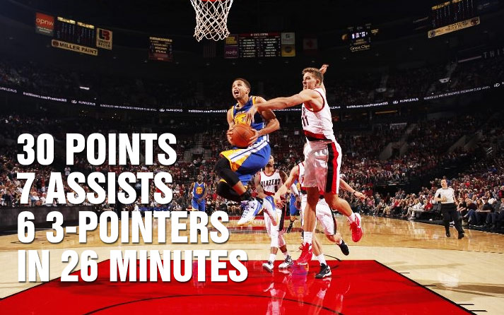 Steph Curry Scores 30 in 3 Quarters vs Damian Lillard & the Blazers
