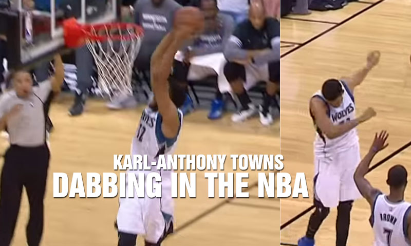 Karl-Anthony Towns Celebrates An And-1 Dunk With The Dabbing Dance