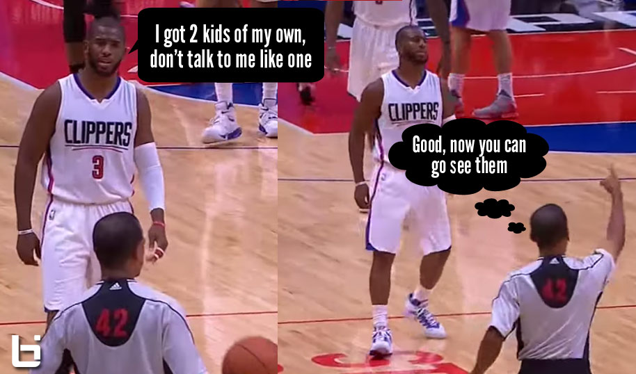 "Chris Paul Gets Ejected For Telling Ref ""I got 2 kids of my own, don't talk to me like like a little kid"""