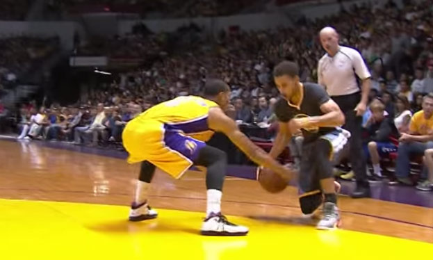 Steph Curry Slips, Recovers & Hits a 3 in Clarkson's Face