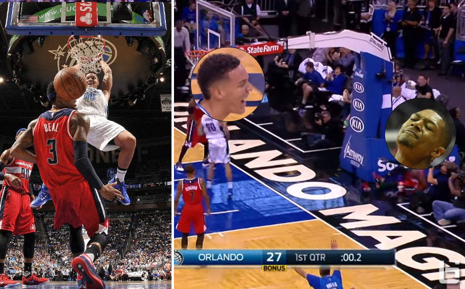 Aaron Gordon Laughs As He Knocks Bradley Beal Out Of Bounds With A Putback Dunk