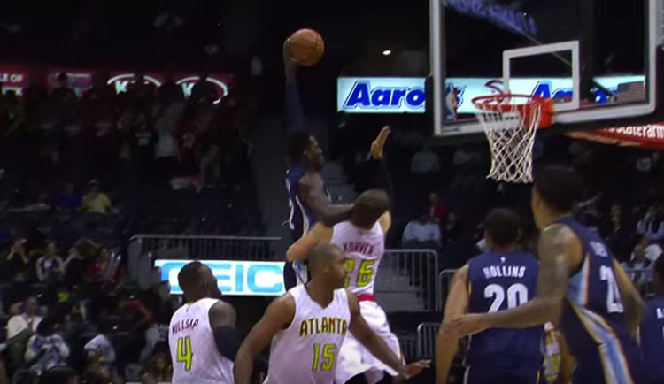 Jeff Green Dunks On Kyle Korver & Then Takes A Scary Fall