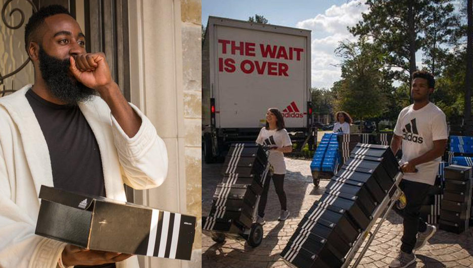 Adidas Delivers A Truckload of Sneakers to James Harden's House