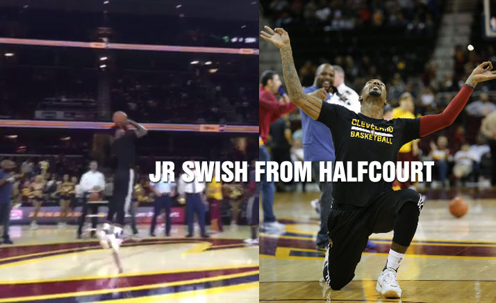 JR Smith Makes A Half-Court Jump Shot To Win A $30k Prize For Military Member
