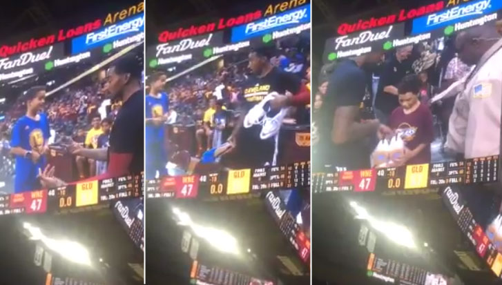 JR Smith Refuses To Give A Kid His Sneakers After Kid Refuses To Take Off His Warriors Shirt
