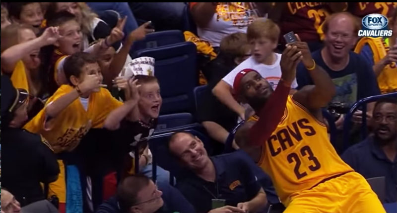LeBron James Takes A Selfie With Kids During Game