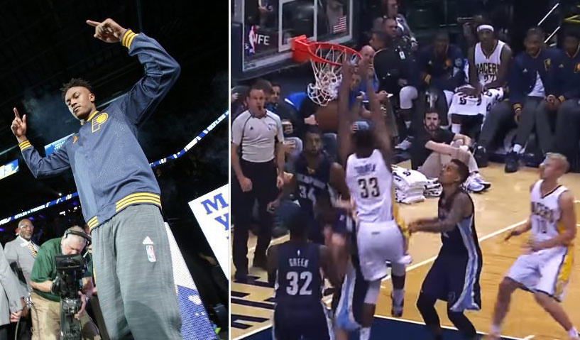 Myles Turner dunking, blocking & hitting jumpers in his NBA debut