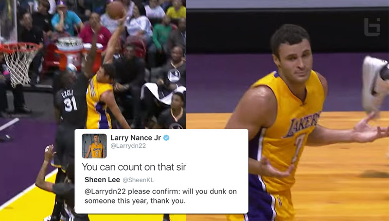 Just like Dad & Mike: Larry Nance Jr Posterizes Festus Ezeli Then Shrugs