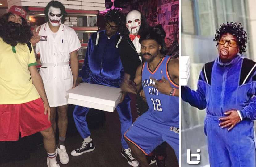 Thunder Halloween Party: Westbrook as Steven Adams, Durant as Martin Lawrence's Pizza Guy