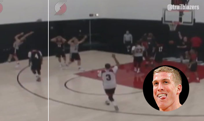 Mason Plumlee Hits A No-Look-Game-Winning 3-Pointer During Blazers Scrimmage