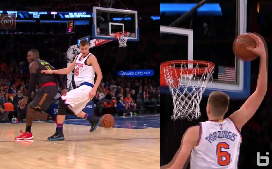 Kristaps Porzingis' Steal/Spin/Slam Had Knicks Fans Cheering & Forgetting Draft Night