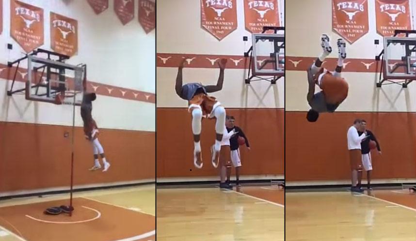Insane Top of the Backboard Jump & Back Flip By 6'3 Texas Freshman Kerwin Roach Jr